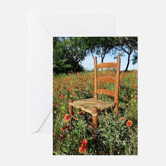 Rawhide Chair In Wildflowers Greeting Cards
