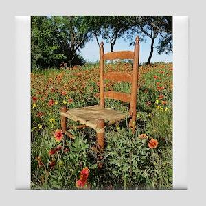 Rawhide Chair In Wildflowers Tile Coaster