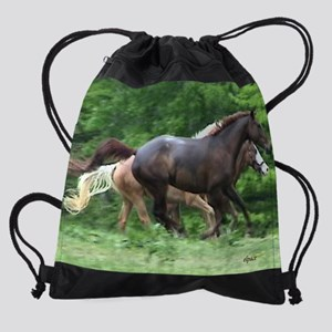 horses runnin the rain calendar Drawstring Bag