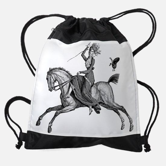 vintage sidesaddle rider loses her  Drawstring Bag