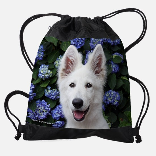 2-pup_flowers.jpg Drawstring Bag