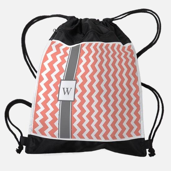 Coral Grey Chevron Monogram Drawstring Bag