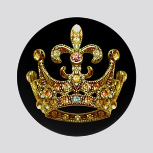 Fleur de lis Crown Jewels Ornament (Round)