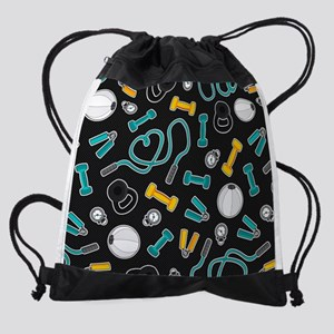 Fitness Love Pattern Aqua and Yello Drawstring Bag
