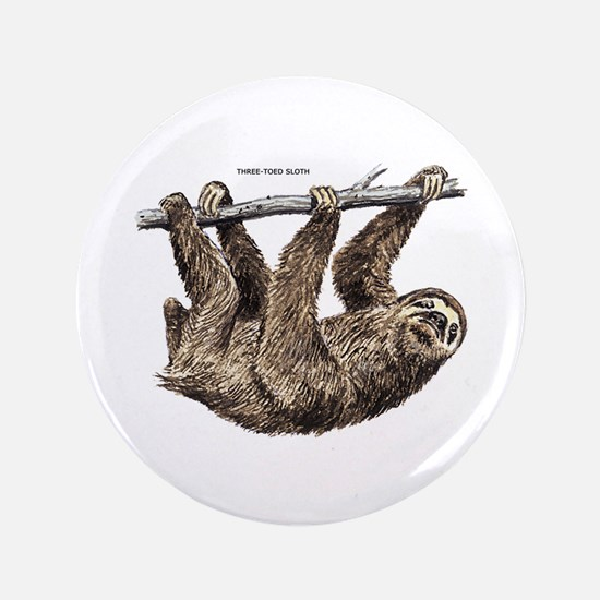 """Three-Toed Sloth 3.5"""" Button"""