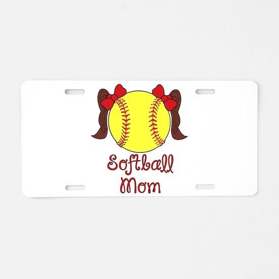 Softball mom brown hair Aluminum License Plate