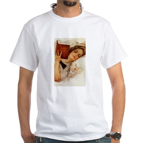Fisher Girl Reader Lady Vintage White T-Shirt