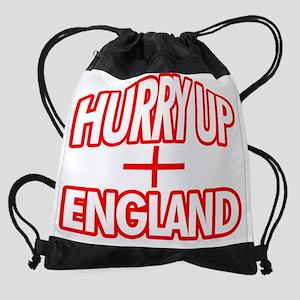 hurry up england Drawstring Bag