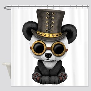 Cute Steampunk Baby Panda Bear Cub Shower Curtain