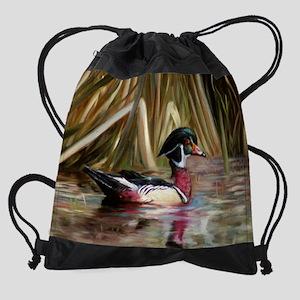wood duck Drawstring Bag