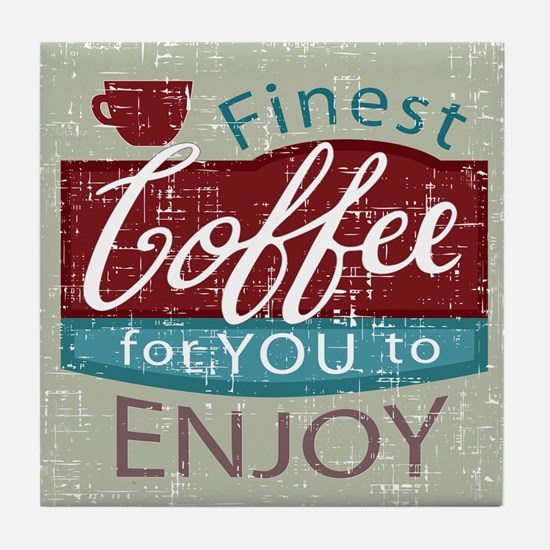 retro style coffe shop advert Tile Coaster