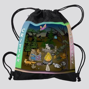 mousepad critters campfire conspira Drawstring Bag