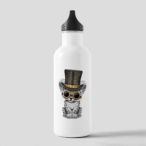 Cute Steampunk Snow Leopard Cub Water Bottle