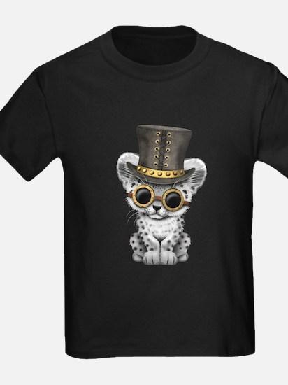 Cute Steampunk Snow Leopard Cub T-Shirt