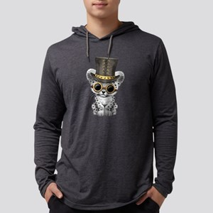 Cute Steampunk Snow Leopard Cub Mens Hooded Shirt
