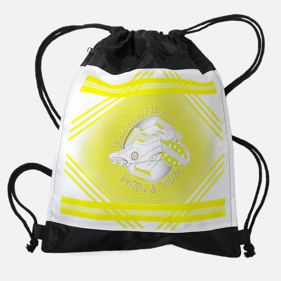 Yellow and White Football Soccer Drawstring Bag
