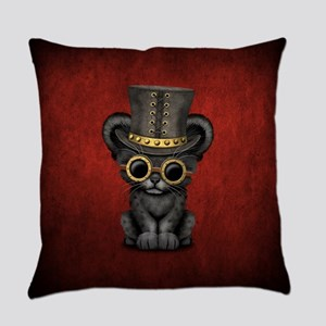 Cute Steampunk Black Panther Cub Everyday Pillow