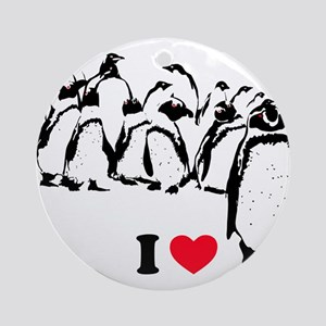 I -heart- Penguins Ornament (Round)