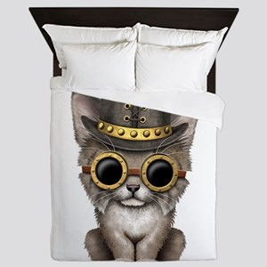 Cute Steampunk Baby Lynx Cub Queen Duvet