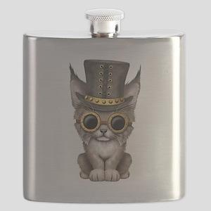 Cute Steampunk Baby Lynx Cub Flask