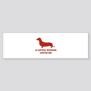 A Little Wiener Loves Me Sticker (Bumper)