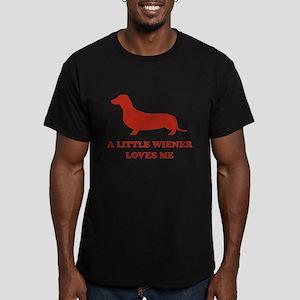 A Little Wiener Loves Me Men's Fitted T-Shirt (dar