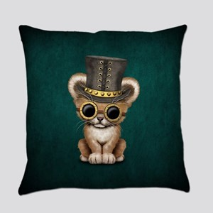 Cute Steampunk Lion Cub Everyday Pillow