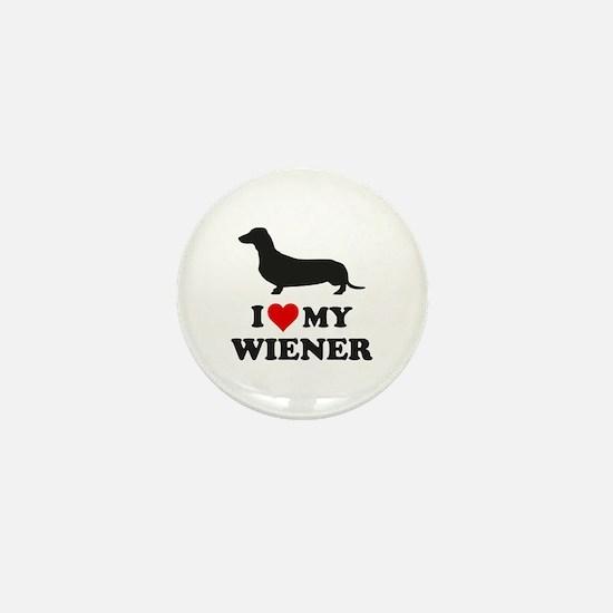 I Love My Wiener Mini Button