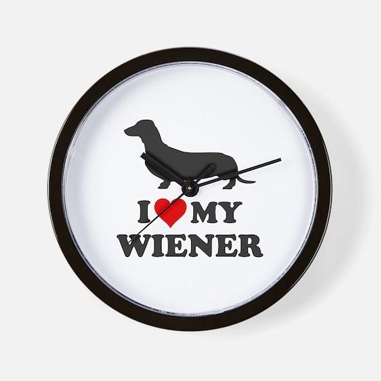 I Love My Wiener Wall Clock