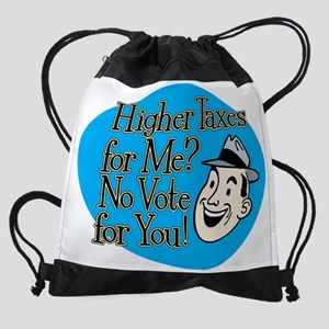 higher taxes blk Drawstring Bag