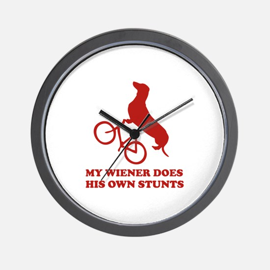 My Wiener Does His Own Stunts Wall Clock