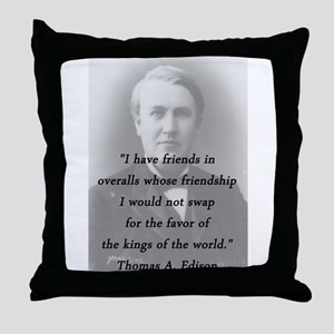 Edison - Friends In Overalls Throw Pillow