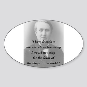 Edison - Friends In Overalls Sticker (Oval)