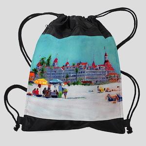 hotel-del-umbrellas-square Drawstring Bag