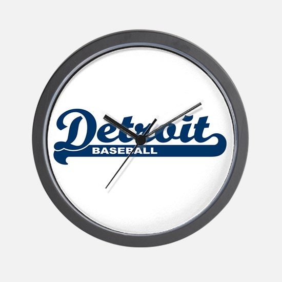 Detroit Baseball Script Wall Clock