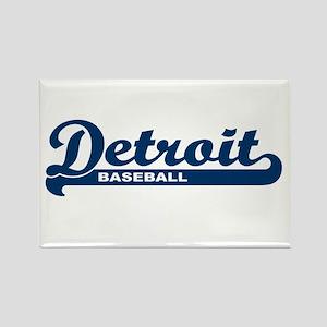 Detroit Baseball Script Rectangle Magnet