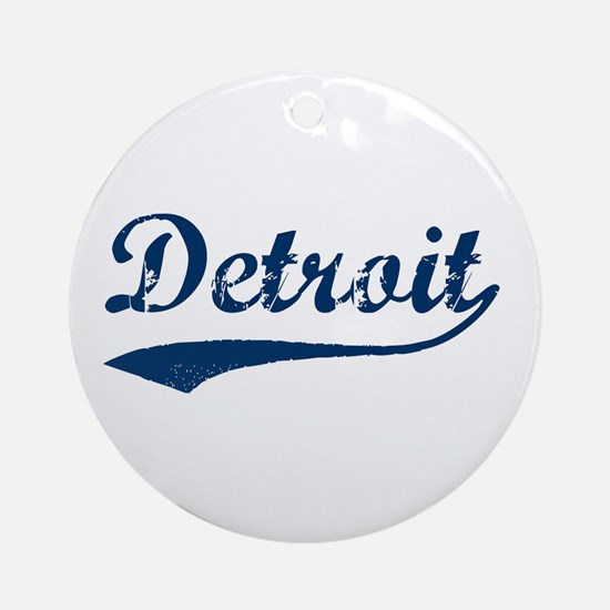 Detroit Script Distressed Ornament (Round)