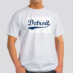Detroit Script Distressed Ash Grey T-Shirt