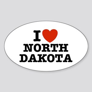 I Love North Dakota Oval Sticker