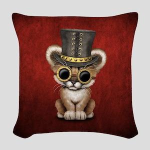Cute Steampunk Baby Cougar Cub Woven Throw Pillow