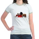 Kissing Bulldog puppies Jr. Ringer T-Shirt