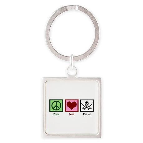 Peace Love Pirates Square Keychain