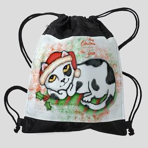 merry christmas kitten greeting car Drawstring Bag
