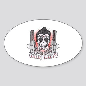 Greaser Sugar Skull Sticker (Oval)