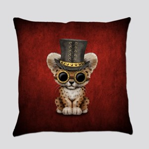 Cute Steampunk Baby Leopard Cub Everyday Pillow