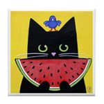 Black CAT With Watermelon Tile/Coaster