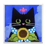 Black Cat, Sunflower, & Pink Bird Tile/Coaster