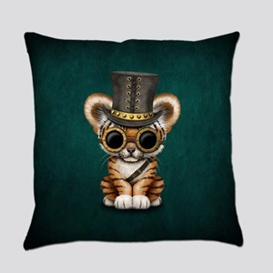 Cute Steampunk Baby Tiger Cub Everyday Pillow