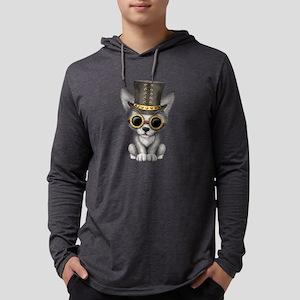 Cute Steampunk Baby Wolf Cub Mens Hooded Shirt