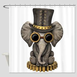 Cute Steampunk Baby Elephant Cub Shower Curtain